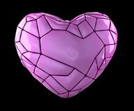 Heart made in low poly style pink color isolated on black background. 3d. Rendering royalty free stock photo
