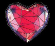 Heart made in low poly style red color isolated on black background. 3d. Rendering vector illustration