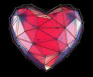 Heart made in low poly style red color isolated on black background. 3d. Rendering royalty free illustration