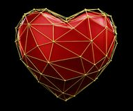 Heart made in low poly style red color isolated on black background. 3d royalty free stock images