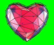 Heart made in low poly style red color isolated on green background. 3d. Rendering Stock Image