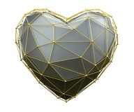 Heart made in low poly style silver color isolated on white background. 3d royalty free stock photo