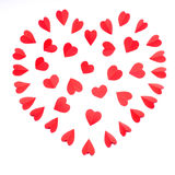 Heart is made from many paper red hearts Stock Photography