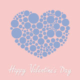Heart made from many round dots Happy Valentines day. Love card Flat design Rose quartz serenity color. Stock Photo