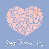 Heart made from many round dots. Love card. Happy Valentines day. Flat design Rose quartz serenity color. Royalty Free Stock Photos