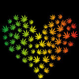 Heart made of marijuana leaves Stock Image