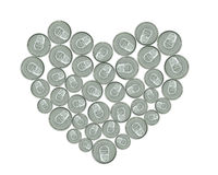 Heart made of metal cans for recycling Royalty Free Stock Photography