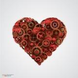 Heart made of metal cogwheel Stock Photography