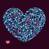 Heart made of music notes Stock Images