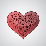 Heart made from music notes. Valentines heart made from music notes - abstract design Royalty Free Stock Photo