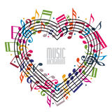 Heart made with musical notes and clef. Royalty Free Stock Image