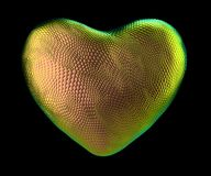 Heart made of natural gold snake skin texture isolated on black. 3d. Rendering royalty free illustration
