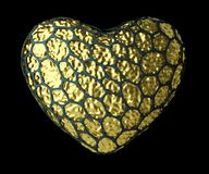 Heart made of natural snake skin texture isolated on black background. 3d. Rendering Royalty Free Stock Images