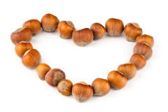 Heart made of nuts Stock Images