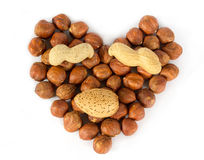 Heart made of nuts Stock Photo
