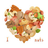 Heart made from nuts. Bright heart made from nuts Royalty Free Stock Photography