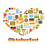 Heart made in Oktoberfest Colorful Symbols Royalty Free Stock Photography