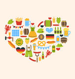 Heart made in Oktoberfest Traditional Symbols Royalty Free Stock Images