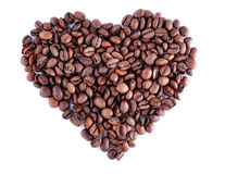 Heart made out of coffee beans Stock Photography