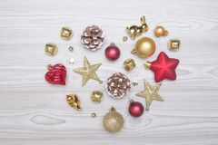 Heart made out from pine cones and other Christmas decorations. Royalty Free Stock Images