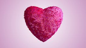 Heart made out of pink flowers growing 3d rendering alpha included stock footage