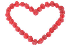 Heart made out of raspberries Stock Photography