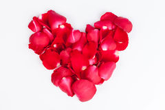Heart made out of rose petals Royalty Free Stock Photos