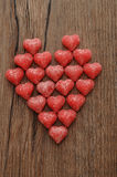 A heart made out of sugarcoated heart shape candy Stock Images