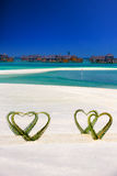 Heart made of palm tree leaves on tropical island with overwater bungalows in the background. Heart made of palm tree leaves on tropical island with overwater stock photo