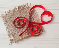 Heart made of paper and burlap Royalty Free Stock Photo