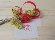 Heart made of paper, yellow flowers Royalty Free Stock Photography