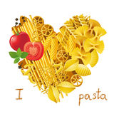 Heart made from pasta Stock Photography
