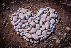 Heart  made from pebbles on the beach Royalty Free Stock Images
