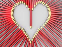 Heart made of pencils - 3D concept. 3D render illustration of a heart profile made from multiple red pencils. The composition is isolated on a white background Royalty Free Stock Photography