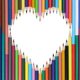 Heart made from pencils love Stock Photo