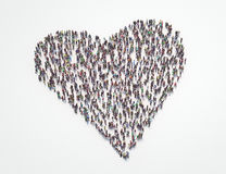 Heart made with people, crowd or mob, 3d render Royalty Free Stock Photo