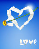 Heart made from petals of daisies. Royalty Free Stock Image