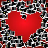 Heart made from photos on red bg Royalty Free Stock Image