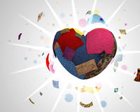 Heart made with pieces of colored cloth Royalty Free Stock Photo