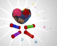 Heart made with pieces of colored cloth Stock Image