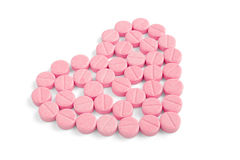 Heart made of pills Stock Photos