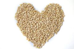 Heart made of pine nuts on white background top view, flat lay stock photos