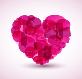 Heart made from pink cartoon bubbles Royalty Free Stock Photography