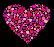 Heart made from pink circles Royalty Free Stock Images