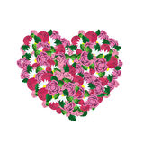 Heart made from pink flowers Stock Photos