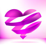 Heart made from pink ribbon.  + EPS8. Vector file Stock Illustration