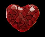 Heart made of plastic shards red color isolated on black background. 3d. Rendering royalty free illustration