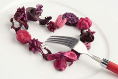 Heart made of potpourri - love meal Stock Photography