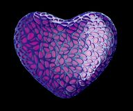 Heart made of purple plastic with abstract holes isolated on black background. 3d. Rendering royalty free illustration