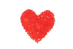 Heart made ??of red beads Stock Photos